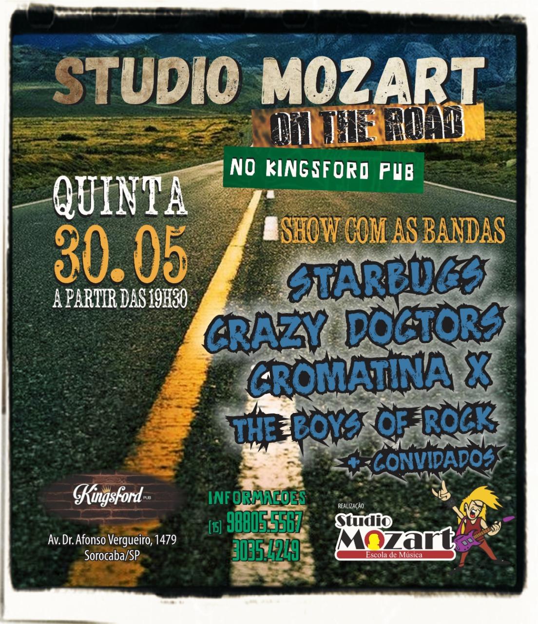 Bandas do Studio Mozart no Kingsford Pub dia 30 de junho (quinta feira)